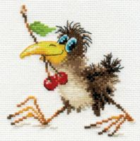 """Baby Crow"" - embroidery kit /Алиса/ 12 х 12 cm"