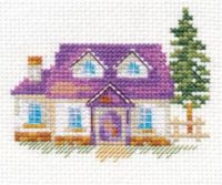 """House on the hill"" - embroidery kit /Алиса/ 8 х 7 cm"