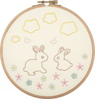 Bunnies and Butterflies - embroidery kit /Anchor Ø17 cm