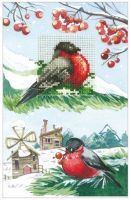 Bullfinches - embroidery kit /Andriana/ 10,5 x 16 cm