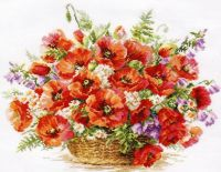 """Basket of poppies"" - embroidery kit /Алиса/ 40 х 30 cm"