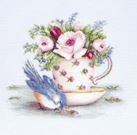Bird in Tea Cup - embroidery kit /Luca-S/ 27,5 x 23,5 cm