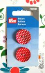 Button 2-hole,  2 pieces,  red/light, 23 mm