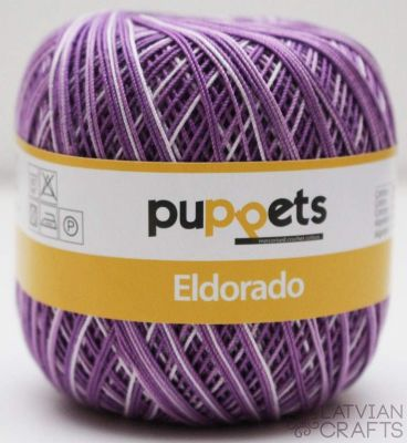 Tambordiegs Puppets Eldorado Multicolor- 50g / N.10 #00046/ Violets - Balts ― Latvian Crafts