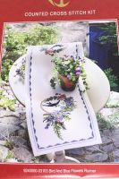 Bird And Blue Flowers - Table runner embroidery kit /Anchor 28 x 80 cm