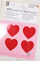 "Anti slip stoppers for Regia socks ""Red Hearts"" 8pcs"