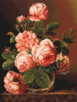 Vase of roses - embroidery kit /Luca-S/ 34 x 43 cm