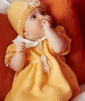 Knitted Baby Dress, hat and Booties /Red Heart Baby