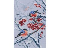Bullfinches in rowanberries - embroidery kit /RTO/ 22 x 33 cm
