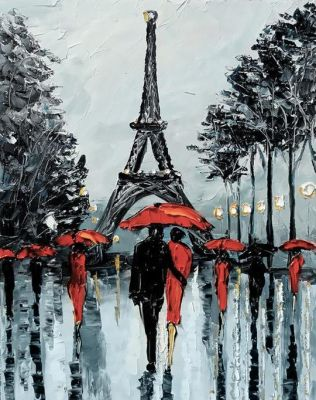"Wizardi Алмазная вышивка ""Paris in Rain"" - 38 x 27 cm ― Latvian Crafts"