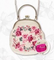 "Handbag ""Pink roses"" - embroidery kit /Luca-S/ 19 x 19 cm"
