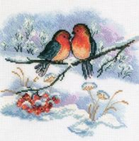 Bullfinch pair - embroidery kit /RTO/ 18 x 18 cm
