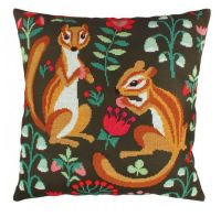 "Pillow top ""Badgers on edge"" - embroidery kit /RTO/ 44 x 44 cm"