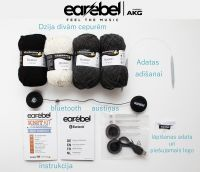 Earebel Knitkit for 2 beanies + black interchangeable Bluetooth headphones - stock clearance!
