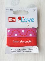 "Ribbon ""Handmade-Hearts"" 15mm x 1.5m /pack of 2 pcs /Prym Love"