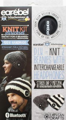 Earebel Knitkit for 2 beanies + black interchangeable Bluetooth headphones - stock clearance! ― Latvian Crafts