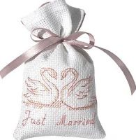 "Cotton bags ""Just married - Swans"" - embroidery kit /Luca-S/ 11 x 7 cm - production stopped!"