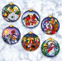 Christmas Balls - embroidery kit /Andriana/ 8 x 8 cm (6 pieces)