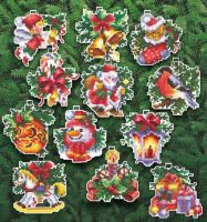 Christmas Toys - embroidery kit /Andriana/ 6 x 6 cm (12 pieces)