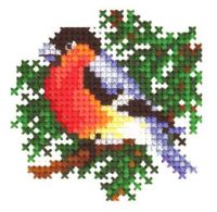 Bullfinch  - embroidery kit /Andriana/ 6 x 6 cm