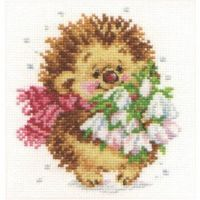 """Spring Hedgehog"" - embroidery kit /Алиса/ 11 х 13 cm"